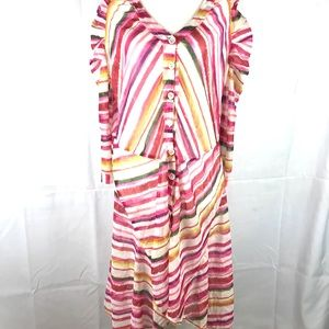 AVENTURES DES TOILES dress pink striped sheer 42